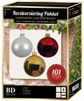 101 stuks kerstballen mix wit goud rood voor 150 cm boom trend