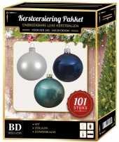 101 stuks kerstballen mix wit ijsblauw blauw voor 150 cm boom trend