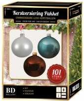 101 stuks kerstballen mix wit ijsblauw bruin voor 150 cm boom trend