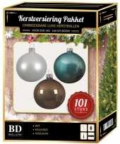 101 stuks kerstballen mix wit ijsblauw kasjmier voor 150 cm boom trend