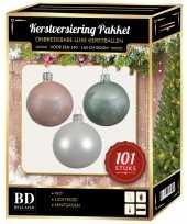 101 stuks kerstballen mix wit lichtroze mint voor 150 cm boom trend