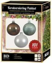 101 stuks kerstballen mix wit mint bruin voor 150 cm boom trend