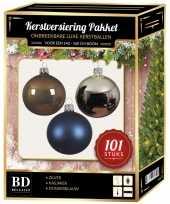 101 stuks kerstballen mix zilver blauw bruin voor 150 cm boom trend