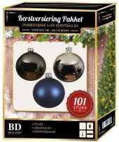 101 stuks kerstballen mix zilver grijs blauw voor 150 cm boom trend