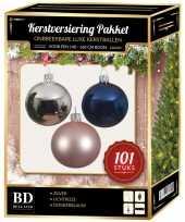 101 stuks kerstballen mix zilver roze blauw voor 150 cm boom trend