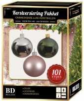 101 stuks kerstballen mix zilver roze groen voor 150 cm boom trend