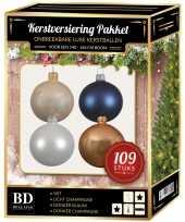 109 stuks kerstballen mix wit beige donkerblauw voor 150 cm boom trend