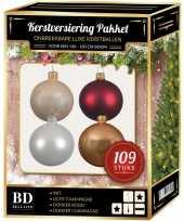 109 stuks kerstballen mix wit beige donkerrood voor 150 cm boom trend