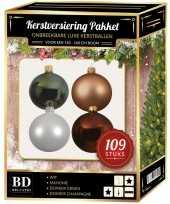 109 stuks kerstballen mix wit beige groen bruin voor 150 cm boom trend