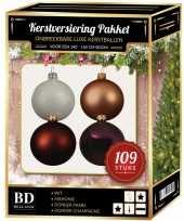 109 stuks kerstballen mix wit beige paars bruin voor 150 cm boom trend
