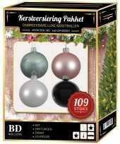 109 stuks kerstballen mix wit roze mint zwart voor 150 cm boom trend