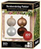 109x kerstballen mix champagne wit bruin voor 150 cm boom trend