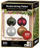 109x kerstballen mix wit beige groen donkerrood voor 150 cm boom trend