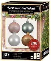 109x kerstballen mix wit lichtroze mint beige voor 150 cm boom trend
