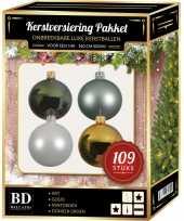 109x kerstballen mix wit mint goud groen voor 150 cm boom trend