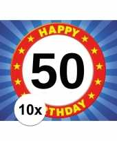 10x 50 jaar stopbord thema stickers 7 5 x 10 5 cm trend