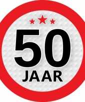 10x 50 jaar versiering stickers rond 9 cm trend