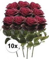 10x donker rode rozen simone kunstbloemen 45 cm trend