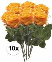 10x geel oranje rozen simone kunstbloemen 45 cm trend