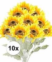 10x gele zonnebloem kunstbloemen 82 cm trend