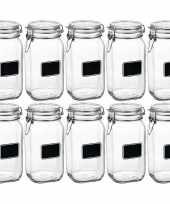10x glazen snoeppotten krijt 1 5 l trend