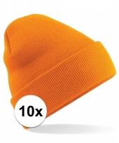 10x heren winter schaatsmuts oranje trend