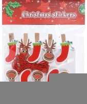 10x houten kerst knijpers rendier kerstsok met koord trend
