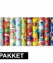 10x inpakpapier rollen voor kinderen met verschillende prints trend
