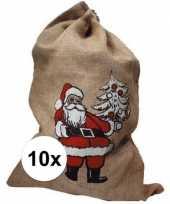 10x jute zakken voor kerstcadeau kerstcadeautjes trend