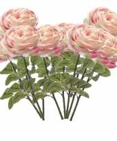 10x lichtroze rozen kunstbloemen 66 cm trend