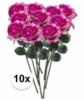 10x paars roze rozen simone kunstbloemen 45 cm trend