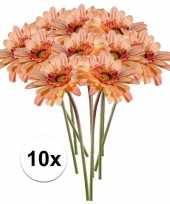 10x perzik oranje gerbera kunstbloemen 47 cm trend