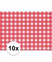 10x placemat rood wit geblokt 43 x 30 cm trend