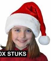 10x pluche luxe kerstmutsen rood wit voor kinderen trend