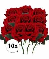 10x rode rozen deluxe kunstbloemen 31 cm trend