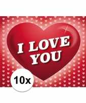 10x romantische valentijnskaart i love you met hartjes trend