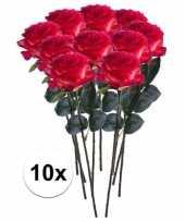 10x rood gele rozen simone kunstbloemen 45 cm trend