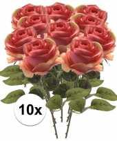 10x roze roos kunstbloem simone 45 cm trend