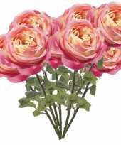 10x roze rozen kunstbloemen 66 cm trend