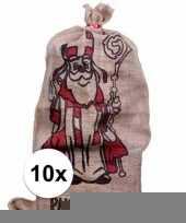 10x sinterklaas zakken van jute 60 x 102 cm trend