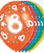 10x stuks 8 jaar thema versiering helium ballonnen 30 cm trend