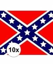 10x stuks vlag van usa rebel plakstickers trend