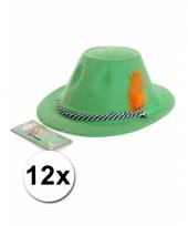 12 oktoberfest hoedjes groen met veer trend