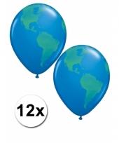 12 wereldbol ballonnen 40 cm trend