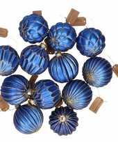 12x blauwe luxe glazen kerstballen met gouden decoratie 6 cm trend