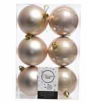 12x creme kerstversiering kerstballen kunststof 8 cm trend