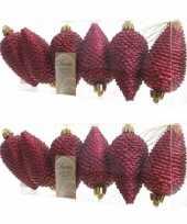 12x donkerrode dennenappels kerstballen 8 cm kunststof glitter trend