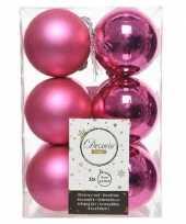 12x fuchsia roze kerstballen 6 cm kunststof mat glans trend