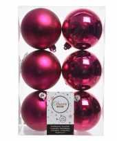 12x fuchsia roze kerstversiering kerstballen kunststof 8 cm trend