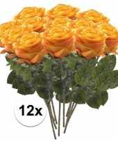 12x geel oranje rozen simone kunstbloemen 45 cm trend